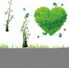 心形树叶 小草素材