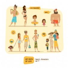 沙滩的家庭人物漫画