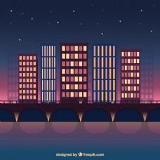 夜现代城市背景