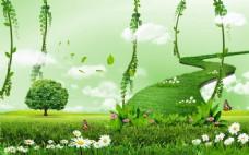 绿色天路客厅背景