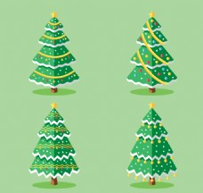 4款金星圣诞树设计矢量素材