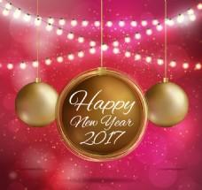 新年背景金圣诞球串灯