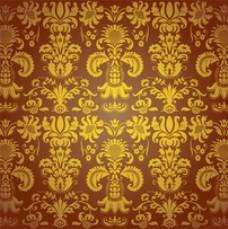 黄金和棕色的老式图案设计