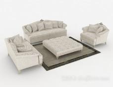田园花纹组合沙发3d模型下载