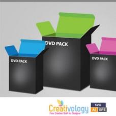 DVD包装盒模板图标矢量