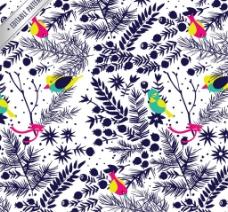 彩绘花卉与鸟无缝背景矢量图