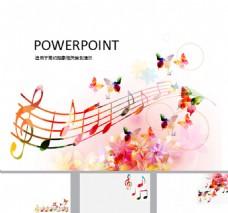 旋律音符音乐艺术PPT模板免费下载