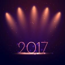 优雅的新年背景与显示灯