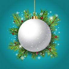 蓝色背景与白色圣诞球