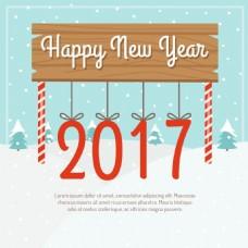 新年快乐木板挂着文字