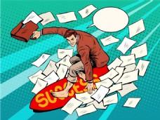 冲浪的卡通商务男士图片