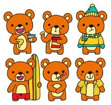 6款可爱棕熊矢量素材