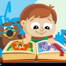 泰迪熊跟着卡通男孩一起复习功课背景海报图