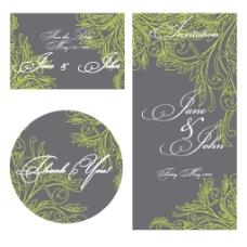 时尚婚礼贺卡模板矢量素材