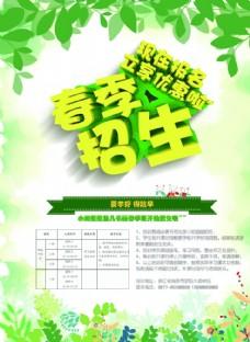 招生 春季海报 绿色背景