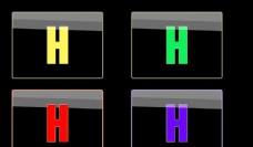 红黄蓝绿四色方形H按钮图标