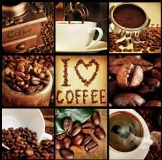 咖啡原料与咖啡图片