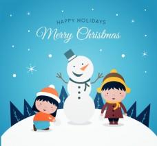圣诞快乐背景与雪人儿童