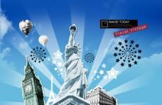 自由女神大本钟素材设计