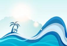 夏季海浪矢量背景