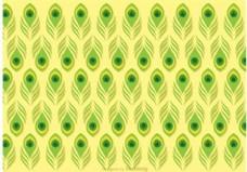 孔雀绿孔雀羽毛花纹矢量图