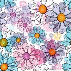 手绘花朵花纹背景图片