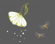白色花朵 蜻蜓