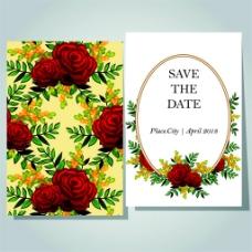 玫瑰花朵婚礼卡片图片