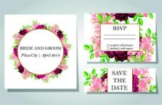 粉色植物花朵婚礼卡片图片[
