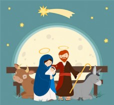 耶稣诞生插画矢量