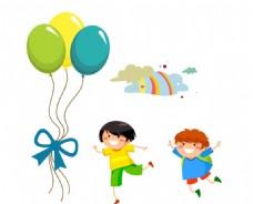 卡通气球 儿童 云彩