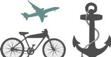 飞机 船锚 自行车