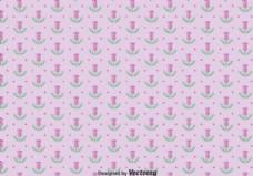 紫色蓟花的无缝模式