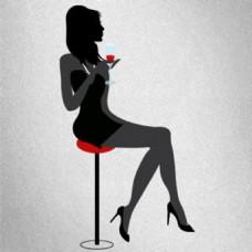 一个品味气质女孩喝酒图像矢量背景