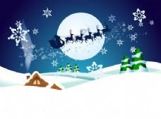 圣诞老人与驯鹿在圣诞夜