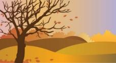 秋景图与落叶免费矢量插图