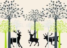 抽象树鹿背景墙