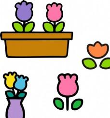 卡通花朵盆栽 郁金香