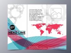彩色曲线世界地图三折页图片