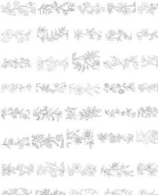 白描花卉植物矢量素材