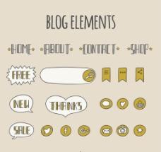 手绘的博客菜单和元素