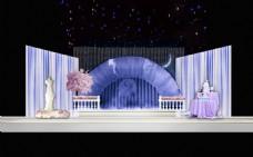 蓝色 紫色 婚礼效果图 浪漫 小清新