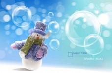 圣诞梦幻雪人广告PSD素材