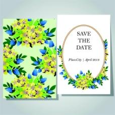 绿色植物花朵婚礼卡片图片