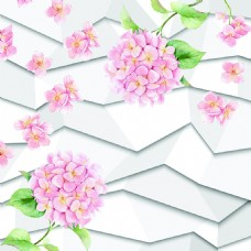3D绣球花背景墙
