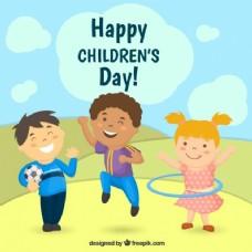 快乐儿童天背景与孩子们玩