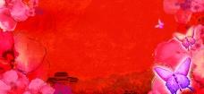 春天蝴蝶花红色背景