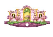 紫金色婚礼手绘