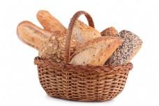 篮筐内的面包图片