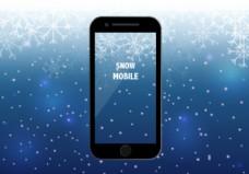具有雪季背景的智能手机